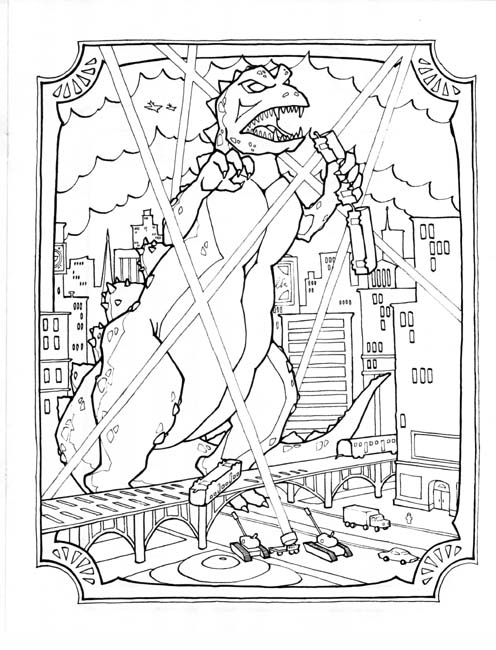 godzilla colouring pages page 2 - Printable Godzilla Coloring Pages