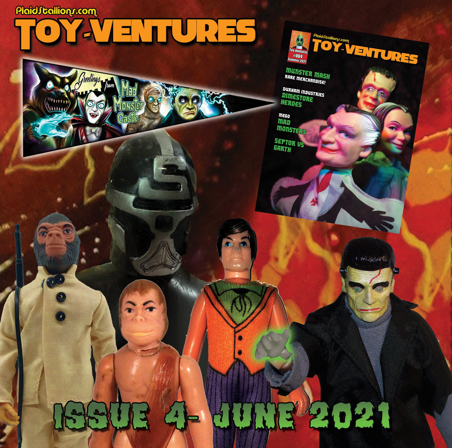 """<a href=""""http://www.megomuseum.com/odeon/store/products/"""">Issue 4 of Toy-Ventures magazine is now shipping, get it while it's hot!</a> <a href=""""http://plaidstallions.com/reboot/wp-content/uploads/2021/05/june4.jpg""""><img class=""""alignnone wp-image-16900 """" src=""""http://plaidstallions.com/reboot/wp-content/uploads/2021/05/june4.jpg"""" alt="""""""" width=""""664"""" height=""""658"""" /></a> <strong>FACEBOOK GROUPS FROM PLAIDSTALLIONS</strong> <a href=""""https://www.facebook.com/groups/podstallions""""><img class=""""alignnone size-medium wp-image-16274"""" src=""""http://plaidstallions.com/reboot/wp-content/uploads/2021/01/93378148_10221648468230849_1206498730543415296_o-300x169.jpg"""" alt="""""""" width=""""300"""" height=""""169"""" /></a> <a href=""""https://www.facebook.com/groups/podstallions"""">Pod Stallions is one of the most fun groups on Facebook.</a> <a href=""""https://www.facebook.com/groups/Megoknockoff""""><img class=""""alignnone size-medium wp-image-16275"""" src=""""http://plaidstallions.com/reboot/wp-content/uploads/2021/01/136455200_10224030090249911_6860183014607719115_o-300x162.jpg"""" alt="""""""" width=""""300"""" height=""""162"""" /></a> <strong><a href=""""https://www.facebook.com/groups/Megoknockoff"""">Mego Knock Off Headquarters</a>- The leading group discussing 70s dimestore goodness, we talk vintage toys, not others!</strong> <a href=""""http://plaidstallions.com/reboot/plaidstallions-action-figure-galleries-mego-knock-offs/"""">Visit the PlaidStallions Action Figure Archive, we catalog unique toylines from the 70s &amp; 80s including rare Japanese toys and knock-offs, updates done daily.</a><a href=""""http://plaidstallions.com/reboot/plaidstallions-action-figure-galleries/""""><img class=""""size-medium wp-image-16947"""" src=""""http://plaidstallions.com/reboot/wp-content/uploads/2021/05/Action-Figure-Archive-Header-300x126.jpg"""" alt=""""Plaid Stallions Action Figure Archive"""" width=""""300"""" height=""""126"""" /></a> PlaidStallions Action Figure Archive&nbsp; &nbsp;"""
