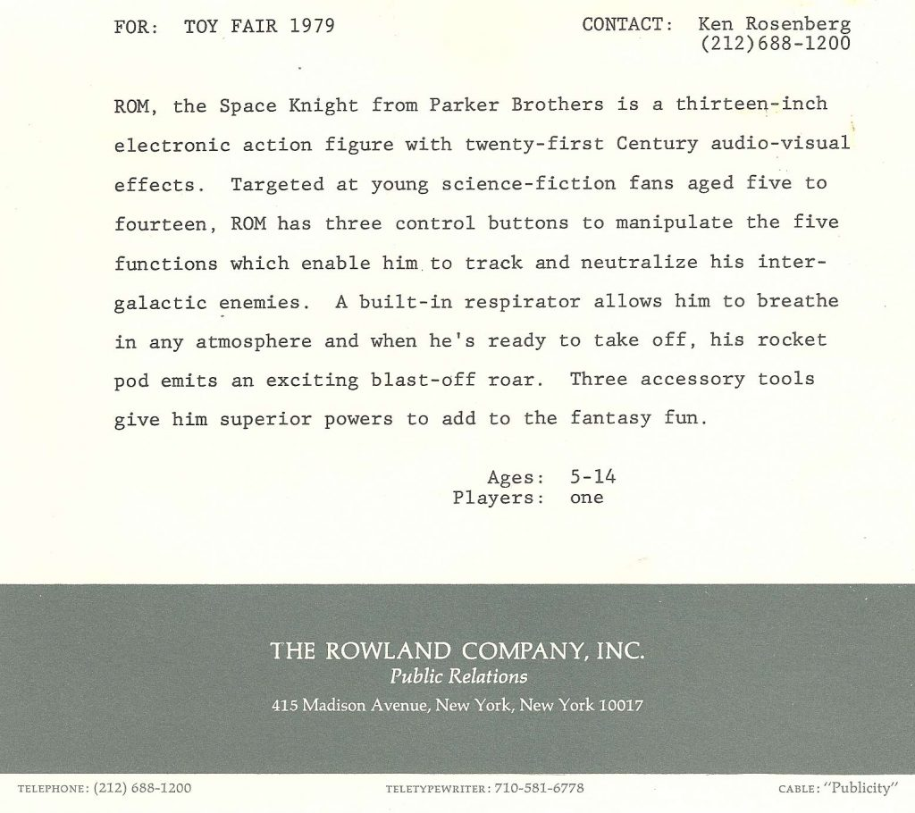 Parker Brothers ROM: Space Knight Press Kit